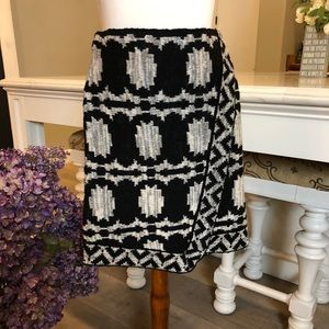 NWT Free People Black Cream Aztec Sweater Skirt